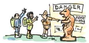 cartoon of zoologists with park ranger